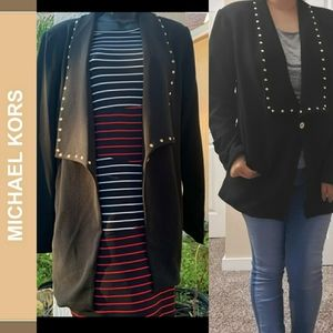 NWT Long black blazer/jacket w/gold studs